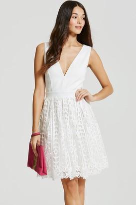 Little Mistress White Crochet Lace Plunge Mini Dress