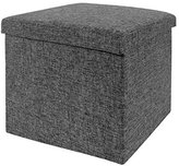 Seville Classics Foldable Storage Cube/Ottoman, Charcoal Grey