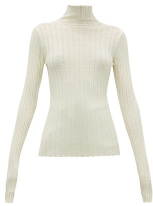 Petar Petrov Karen High-neck Ribbed Merino-wool Sweater - Womens - Ivory