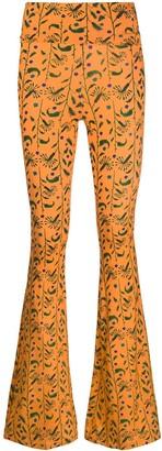 C'Est La V.It Foliage Print Flared Trousers
