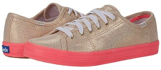 Keds Oh Joy! Kickstart Neon Foxing (Light Gold Foil Leather) Women's Shoes