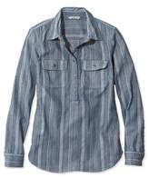 L.L. Bean Signature Denim Popover Shirt, Stripe