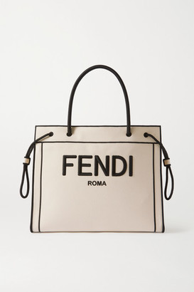 Fendi Large Embroidered Canvas Tote - White