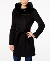 Calvin Klein Faux-Fur-Collar Wool-Blend Walker Coat