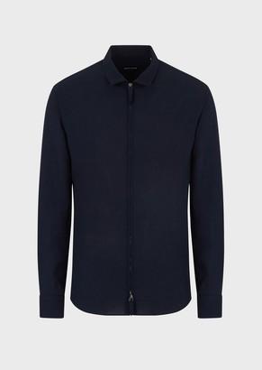 Giorgio Armani Slim-Fit Seersucker Shirt With Zip