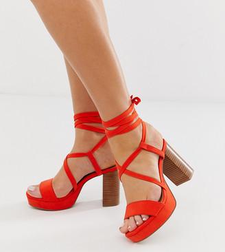 Asos Design DESIGN Wide Fit Walker platform block heeled sandals-Red