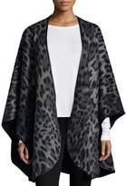 Sofia Cashmere Leopard-Print Cashmere Cape