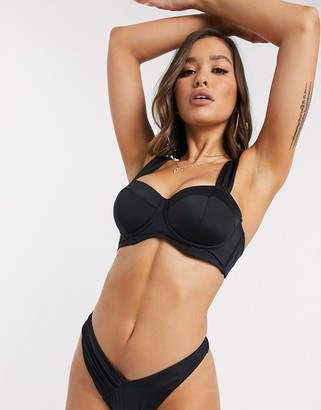 ASOS DESIGN recycled fuller bust exclusive underwired ruched strap longline bikini top in black