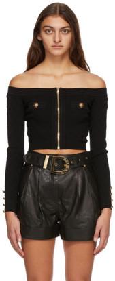 Balmain Black Off-The-Shoulder Diamond Knit Cardigan