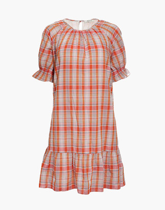 Madewell Plaid Ruffle-Sleeve Popover Mini Dress
