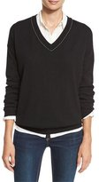 Brunello Cucinelli Monili-Trim Cashmere V-Neck Sweater, Black