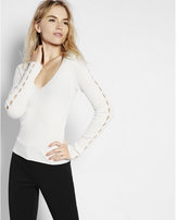 Express slashed v-neck long sleeve sweater