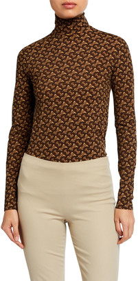 Burberry Monogram Print Jersey Turtleneck Top