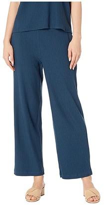Eileen Fisher Tencel Stretch Rib Ankle Wide Leg Pants (Storm) Women's Casual Pants