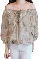 uxcell® Women Off Shoulder Floral Prints 3/4 Sleeves Casual Tops XS