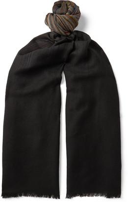 Paul Smith Fringed Striped Wool-Twill Scarf