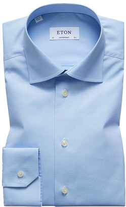 Eton Blue Plain Poplin Shirt - Contemporary Fit