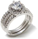 Absolute Sterling Silver Round Stone Pave Frame 3-piece Bridal Ring Set