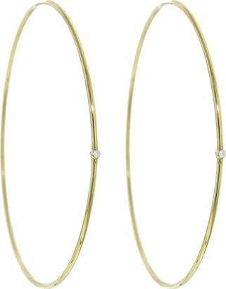 Jennifer Meyer Large Diamond Yellow Gold Hoop Earrings