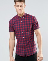 Asos Skinny Check Shirt In Red With Short Sleeves