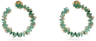 Suzanne Kalan Yellow Gold, Diamond and Emerald Fireworks Spiral Hoop Earrings