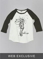 Junk Food Clothing Kids Girls Tinkerbell Raglan-su/bw-l