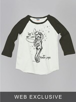 Junk Food Clothing Kids Girls Tinkerbell Raglan-su/bw-xs