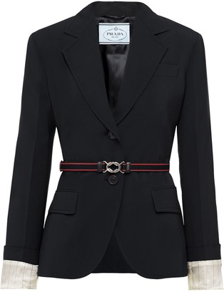 Prada Single-Breasted Belted Blazer