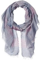 D&Y Women's Striped Oblong Scarf with Frayed Edges