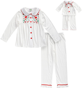 Dollie & Me White Heart-Accent Pajama Set - Girls