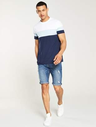 Very Cut & Sew Colour Block T-shirt - Navy/Blue
