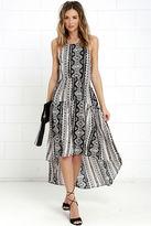 En Creme Tail of Smoke Cream and Black Print High-Low Dress