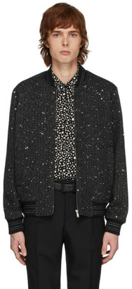 Saint Laurent Black and Silver Tweed Teddy Bomber Jacket