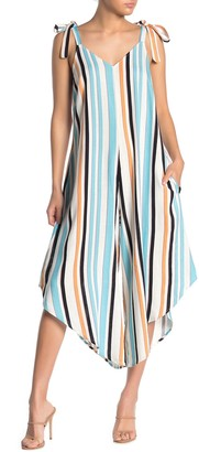 MSK Striped Tie Strap Wide Leg Jumpsuit