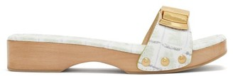 Jacquemus Tatanes Wooden-sole Leather Slides - Womens - Green White