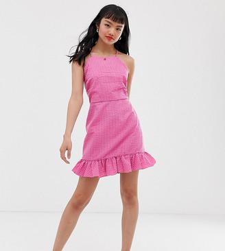 Glamorous Petite square neck cami dress with ruffle hem in mini gingham