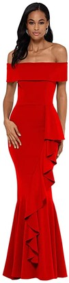 Betsy & Adam Long Over-the-Shoulder Cascade Ruffle Gown (Red) Women's Dress