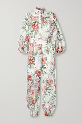 Zimmermann Bellitude Floral-print Linen Jumpsuit - Ivory