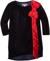 Andy & Evan Velvet Top With Bow Detail (Toddler/Kid) - Navy - 2T