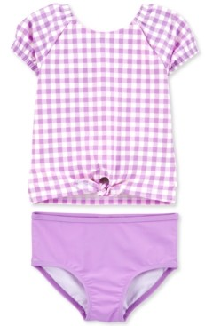 Carter's Baby Girls 2-Pc. Purple Gingham Rash Guard Set