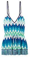 Missoni Mare Fringe Trim Knit Mini Dress: Blue/Green