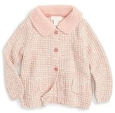 Pumpkin Patch Knit Cardigan with Faux Shearling Collar (Baby Girls)