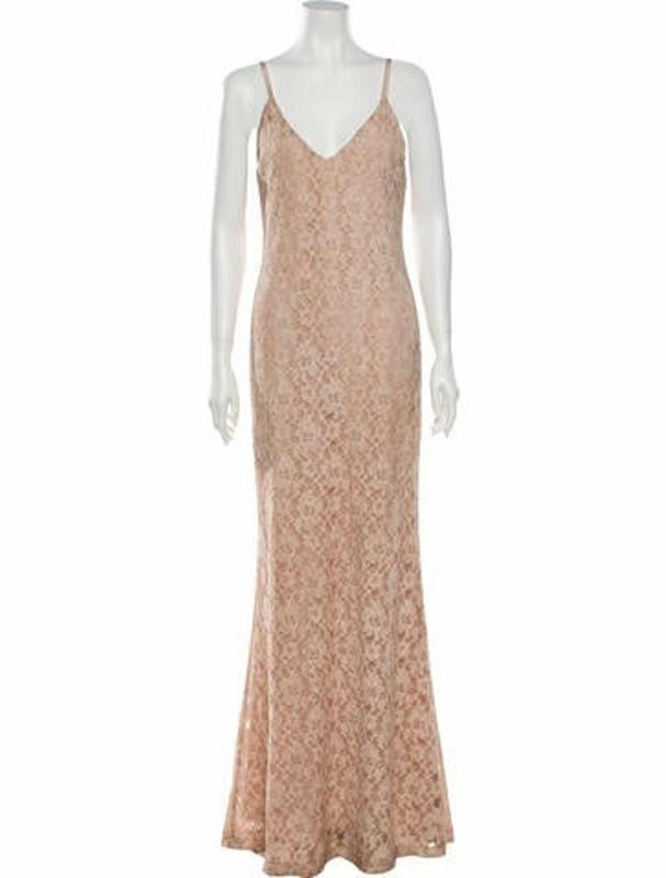 Alice + Olivia Lace Pattern Long Dress Pink