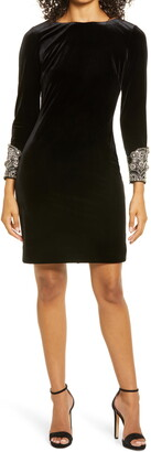 Badgley Mischka Long Sleeve Faux Pearl Cuff Sheath Cocktail Dress