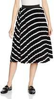 New Look Women's Mono Pleated Striped Skirt