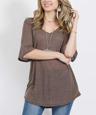 Lydiane Women's Tee Shirts Taupe - Taupe V-Neck Half-Sleeve Curved-Hem Top - Women