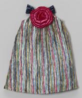 Mulberribush Blue & Pink Stripe Rose Dress - Infant & Toddler