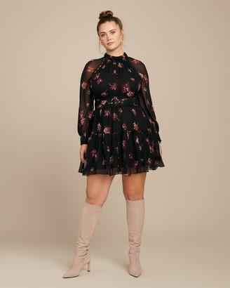Nicholas High Neck Button Mini Dress