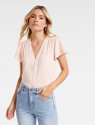 Forever New Elaina Flutter Short Sleeve Top - Blush - 10