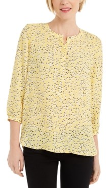 JM Collection Printed Pleat-Back Top, Created for Macy's